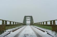 Steel Bridge On Snowy Winter Day, Waspik, Noord-Brabant, Netherlands