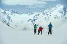 Landscape With Three Male Skiers, Portrait, Alpe-d'Huez, Rhone-Alpes, France
