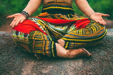 Woman Doing Enlightened Pose In Forest