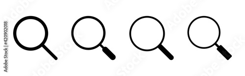 Tableau sur Toile Search icon set. search magnifying glass icon