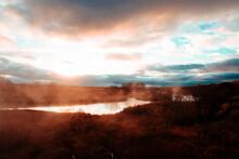 Sunset Over Lake, Seljavallalaug, Iceland