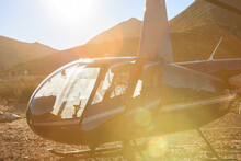 Helicopter In Sunlit Arid Rural Landscape, Cape Town, Western Cape, South Africa