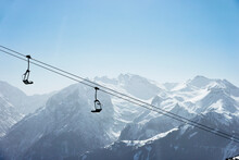 Snow Covered Mountain Landscape With Ski Lift,  Alpe-d'Huez, Rhone-Alpes, France