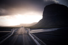 Landscape With Rural Road And Storm Clouds, Skaftafell, Iceland