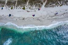 Beach Umbrellas And Holiday Makers On Beach, Oristano, Cagliari, Sardinia
