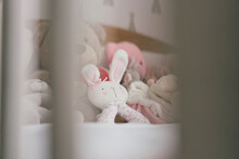 View Of Soft Toys On Bed Through Crib Slats