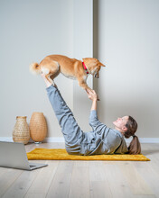 Doga Yoga Is The Practice Of Yoga As Exercise With Dogs. Online Yoga With Furry Friends