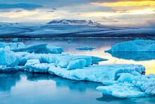 Jokulsarlon Lagoon, Glacier In Background, Iceland