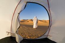 Tuareg Outside Tent In Desert, Erg Awbari, Sahara Desert, Fezzan, Libya