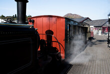 Steam Train Stopping At Station