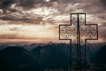 Large Cross Structure On Peak, Mountain Ranges In Background, Bludenz, Vorarlberg, Austria