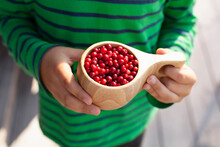 Child Holding Wooden Mug Of Red Berries