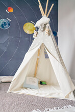 Child's Teepee, Mural Of Solar System On Wall