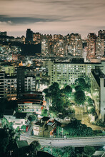 Night Scene Of Highrise Buildings, Taipei, Taiwan