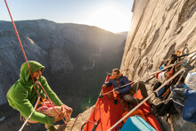 Two Mountaineers In A Portaledge On The Nose, El Capitan, Yosemite National Park