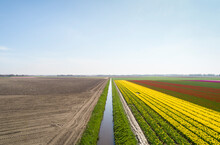 Early Morning View Of Fields In Coastal Area Of The Netherlands In Spring, Reclaimed Land.