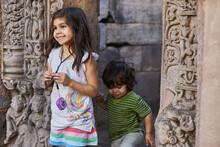 Siblings Exploring Temple, Bhopal, Madhya Pradesh, India