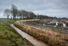 View Across Flooded Fields In Friesland, The Netherlands.