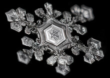 Extreme Close Up Of Snowflake On Black Background, Structure And Natural Geometric Patterns