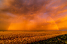 A Dust Storm With Vivid Orange Sky And Rainbow