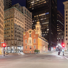 Exterior Of The Old State House, Boston, Massachusetts, USA At Night, During The Corona Virus Crisis.