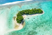 Small Island Coverd With Palm Trees, And Shallow Water Of A Lagoon, Aerial View.
