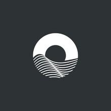 Modern Ocean And Sun Icon, Logo Template, Negative Space Ocean Logo, Letter O For Ocean Logo .vector