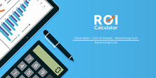 Return On Investment ROI Calculator Concept Vector Illustration.