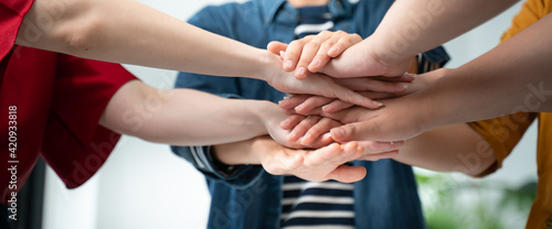 Fototapeta Teamwork,partnership and Social connection in business join hand together concept.Hand of diverse people connecting.Power of volunteer charity work, Stack of people hand. obraz