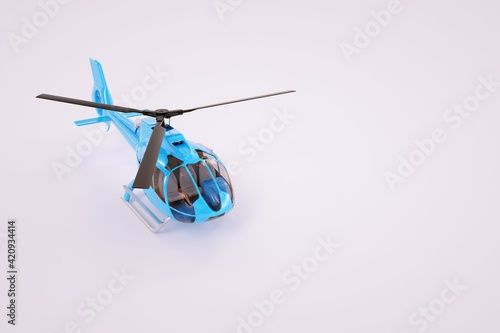 Tela 3D model of a helicopter on a white background