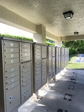 Cluster Of Residential Mailboxes With Numbered Compartments For A Communal Residential Living Area.