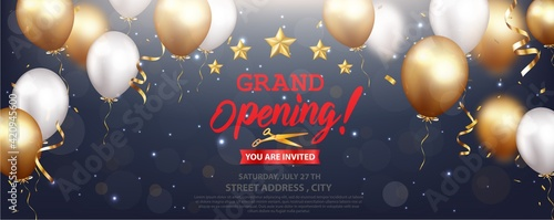 Grand opening card design with gold ribbon and confetti