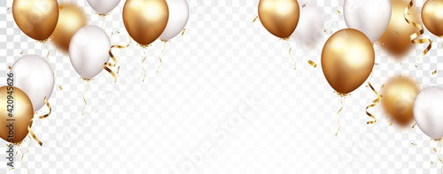 Fototapeta Celebration banner with gold confetti and balloons obraz