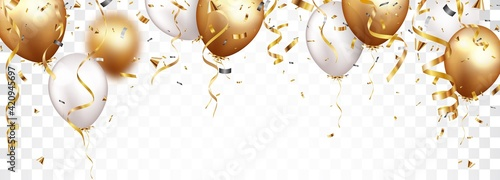 Fotografija Celebration banner with gold confetti and balloons
