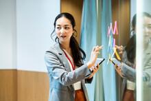 付箋にアイディアを出し会議を進行する女性社員