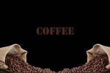 Coffee Text With Coffee Beans On Brown Background, Coffee Background