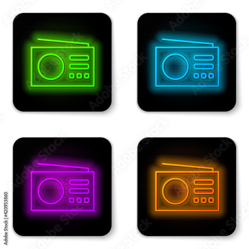 Fotografie, Tablou Black Radio with antenna icon isolated on black background