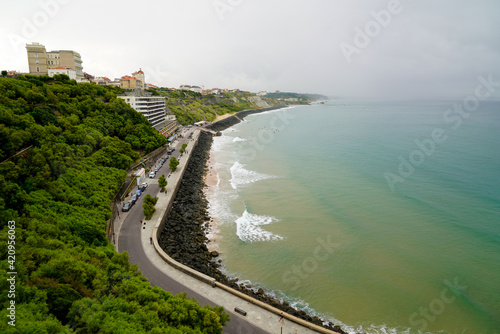 Canvas atlantic southwest coast in Biarritz France seascape of stone rock beach low tid