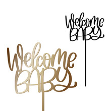 Welcome Baby Cake Topper With Stick Vector Design. Newborn Party Decoration. Calligraphy Sign For Laser Cutting.