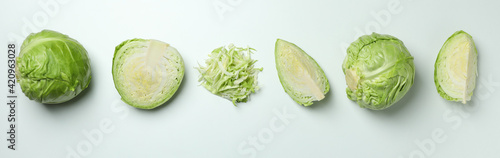 Fotografia Fresh green cabbage on white background, top view