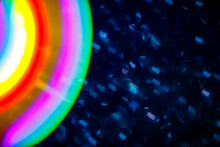 Myriad Stars And Beautiful Rainbow Circles In Space. High Quality Photo