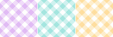 Gingham Pattern Set In Pastel Purple, Yellow, Green, White. Vichy Seamless Tartan Check Striped Graphics For Tablecloth, Oilcloth, Picnic Blanket, Other Modern Spring Summer Fashion Textile Print.