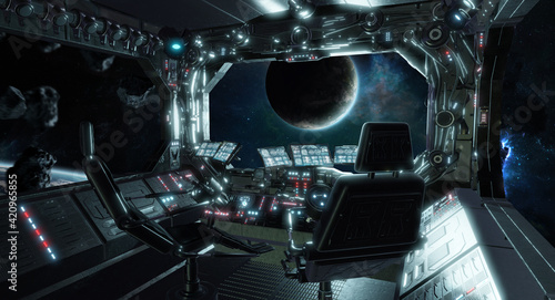 Billede på lærred Spaceship grunge interior control room with view on space 3D rendering elements