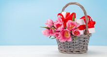 Pink Tulip Flowers Bouquet And Gifts