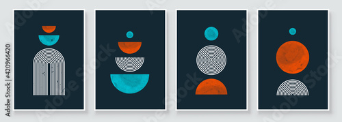 Obraz Mid Century Modern Design. A trendy set of Abstract Black Hand Painted Illustrations for Postcard, Social Media Banner, Brochure Cover Design or Wall Decoration Background. Vector illustration. - fototapety do salonu