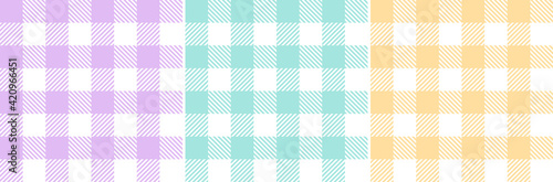 Fototapeta Vichy check plaid pattern set in pastel purple, green, yellow, white. Gingham seamless tartan bright colorful graphics for tablecloth, towel, oilcloth, other modern spring summer fashion fabric print. obraz