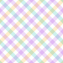 Gingham Plaid Pattern Spring Summer Multicolored In Pastel Purple, Green, Yellow, White. Seamless Tartan Vichy Graphic Vector For Dress, Gift Paper, Tablecloth, Other Modern Fashion Textile Print.
