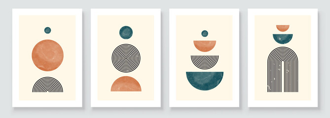 Mid Century Modern Design. A trendy set of Abstract Hand Painted Illustrations for Wall Decoration, Social Media Banner, Brochure Cover Design or Postcard Background. Aesthetic watercolor