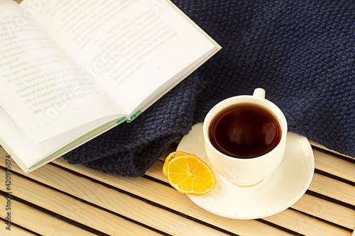 tea, a blanket and a book Fototapete