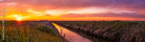 Sunset wide panorama